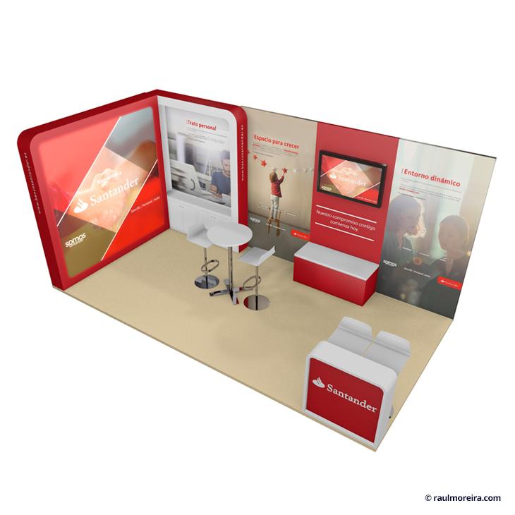 Diseño 3D de stands y diseño gráfico para eventos vista superior picado