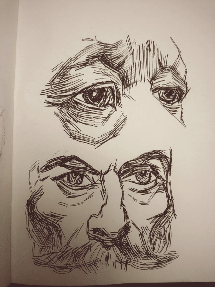 Día 22 #inktoberday22 #Inktober #inktober2017 ilustración ojos a pluma y tinta