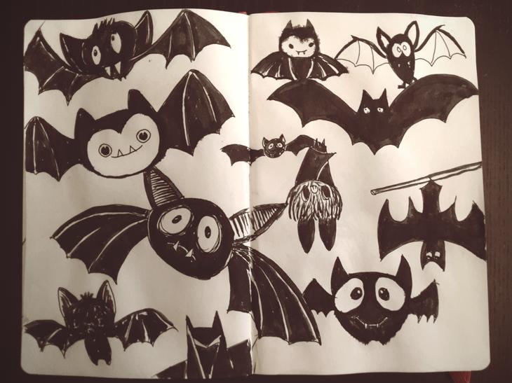 Día 28 #inktoberday28 #Inktober #inktober2017 ilustración vampiros murciélagos