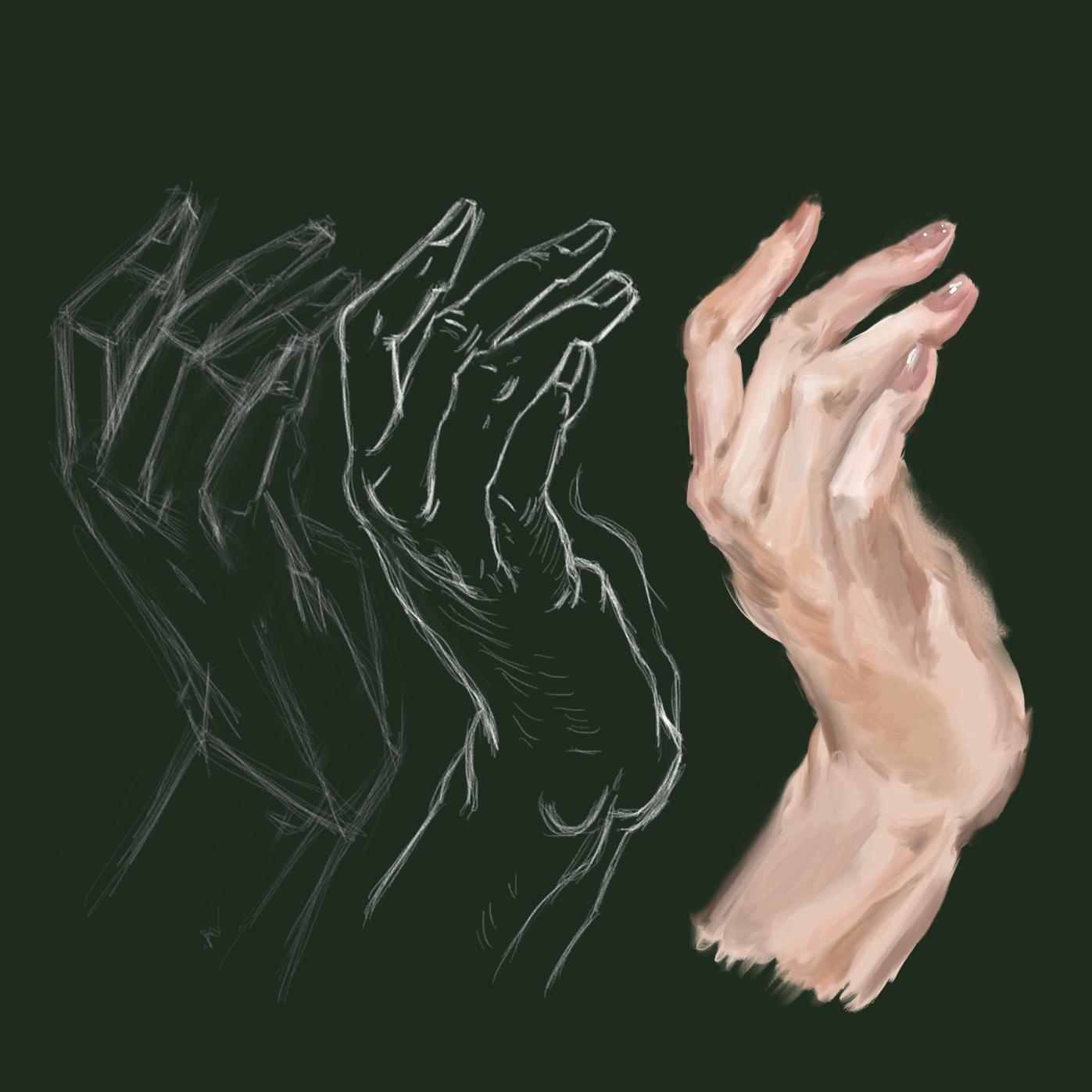 Proceso de dibujo de una mano