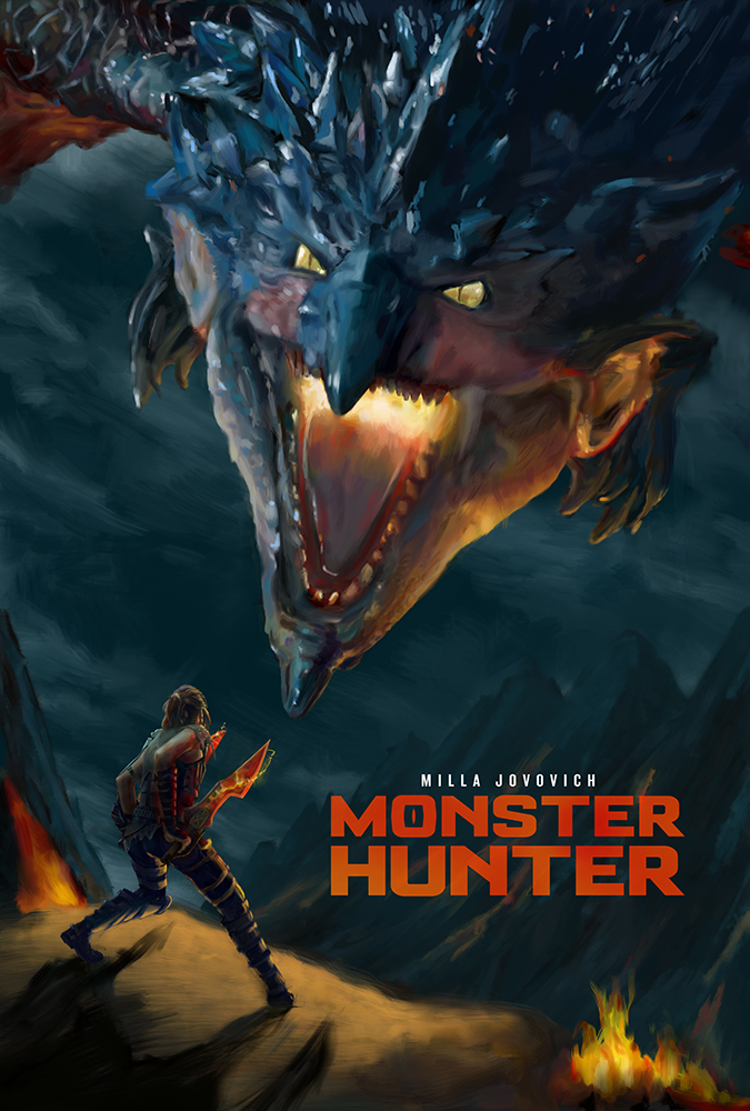 Ilustración para cartel de la película Monster Hunter art by Raúl Moreira