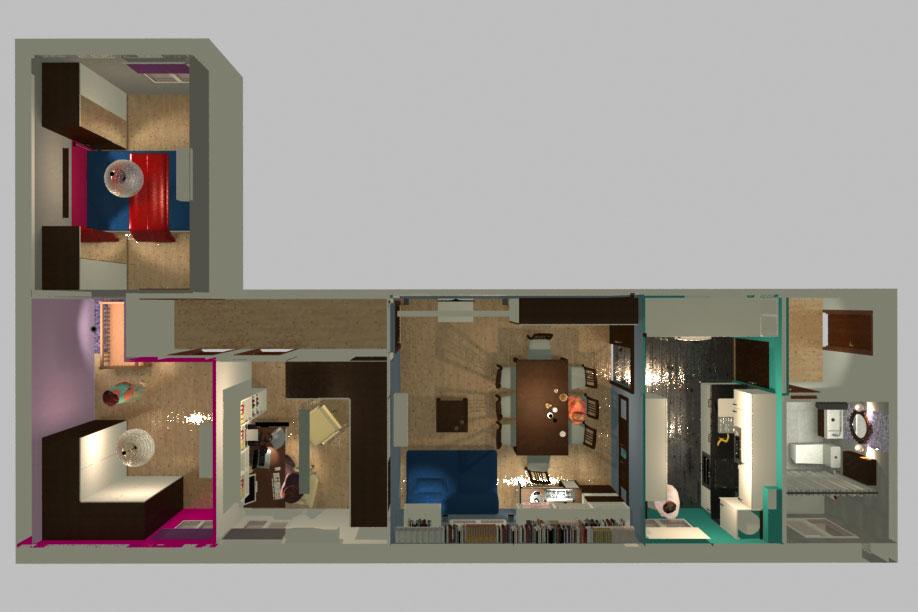 Planta vivienda - 3D arquitectura