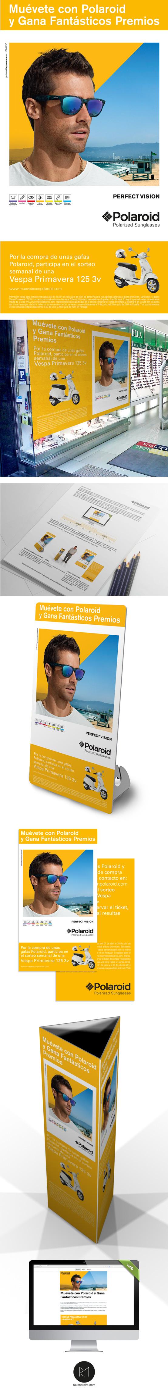 Polaroid Sorteo Vespas, diseño campañas, promociones propaganda.