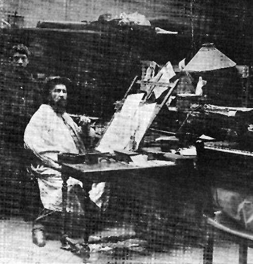 Daniel Urrabieta Vierge en su taller de Bologne sur Seine