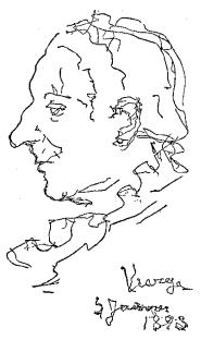 Primer dibujo de Vierge con su mano derecha tras la hemiplejia, 1893.