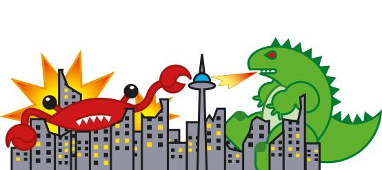 Godzilla vs Cangrejo abisal Gigante. Ilustración Raúl Moreira. Ilustrador vectorial freelance en Madrid. Ilustrador autónomo para agencias, estudios y editoriales.