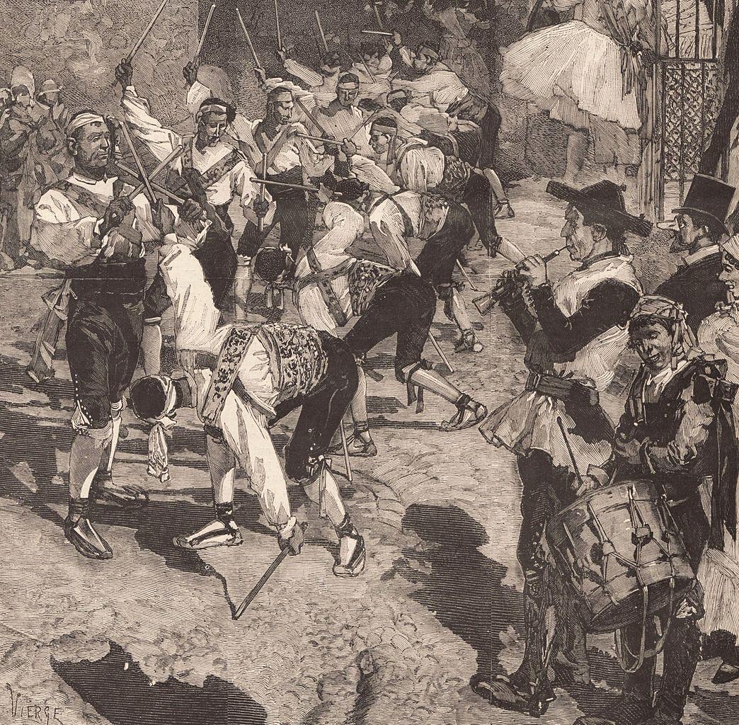 La Danza de los palos-en el Carnaval de Madrid. 1879 Le Monde illustré