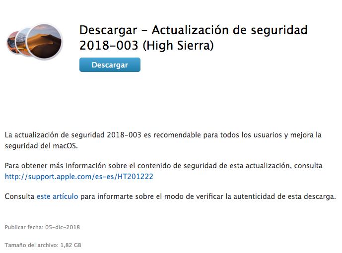 actualizar a MacOs HighSierra 10.13.6 Mac no se apaga. Actualización de seguridad 2018-003
