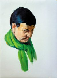 Comprar cuadros al óleo, Rosa Pañuelo Verde