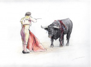 Dibujo, Tauromaquia 1, cuadro pintado a mano