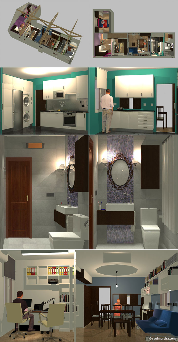Diseño en 3D de interior de vivienda