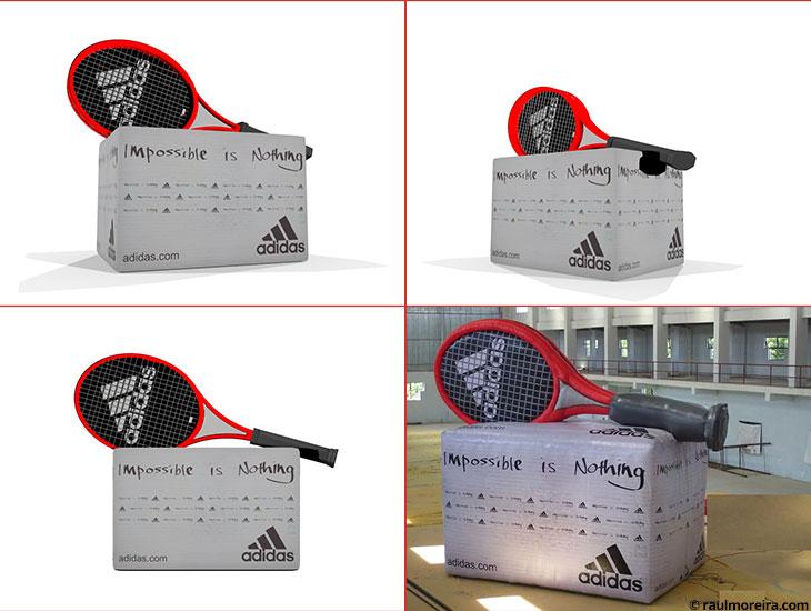 Diseño en 3D de hinchable para evento de Adidas.