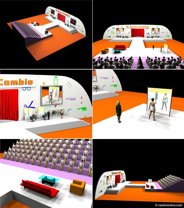 Diseño en 3D para escenario de programa de tv.