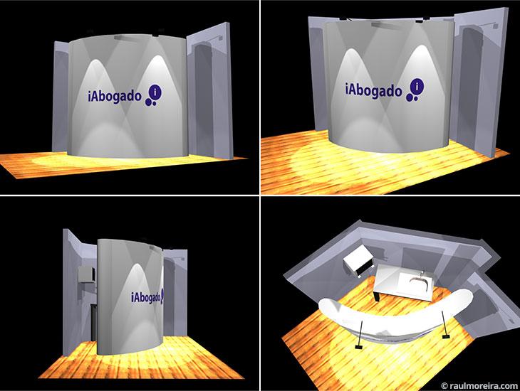 Diseño en 3D de espacio para iAbogado, versión pop up.