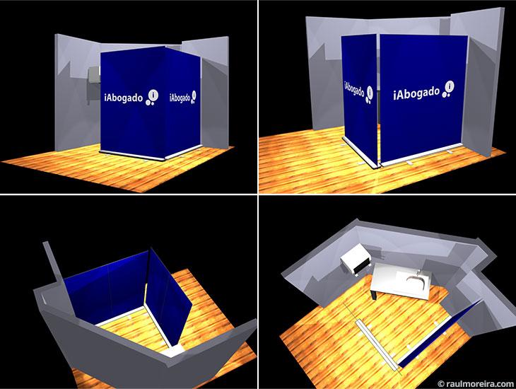 Diseño en 3D de espacio para iAbogado, versión roll ups.