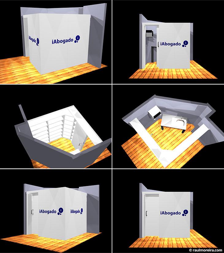 Diseño en 3D de espacio para iAbogado, construcción a medida.