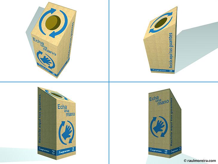 Diseño en 3D de caja de cartón para recilaje de guantes en estaciones de servicio Repsol.