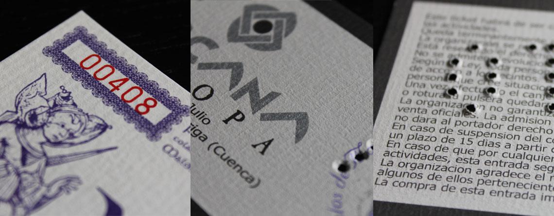 Diseño entradas seguras, brazaletes y tickets tómbola