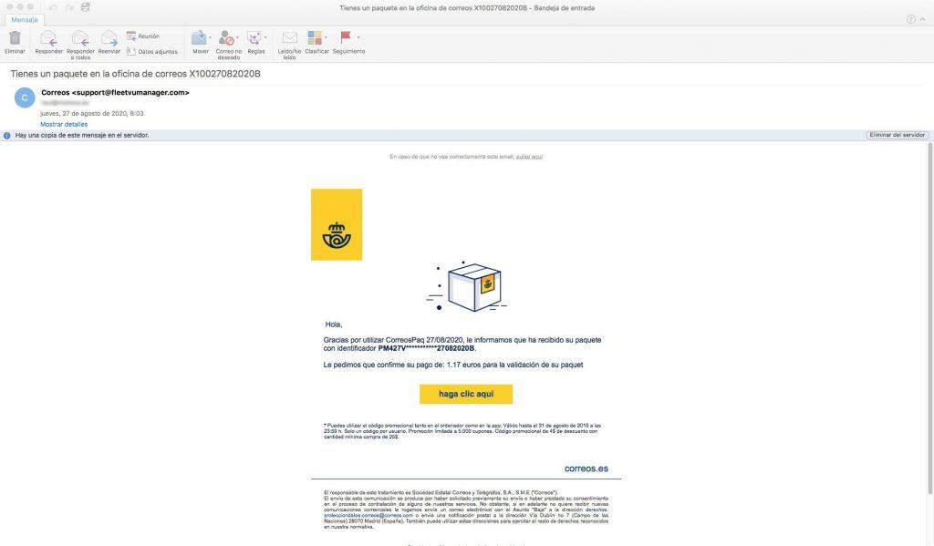 Nueva estafa por email de Correos solicitando tasas aduaneras
