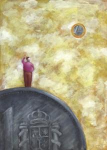 Ilustración, acrílico, De la Peseta al Euro, venta de cuadros pintados a mano