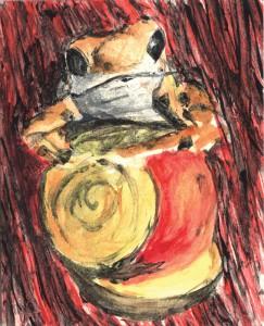 Ilustración, gouache, Rana y Caracol, venta online cuadros