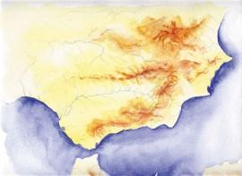 Ilustración, Mapa Andalucía, venta de cuadros pintados a mano