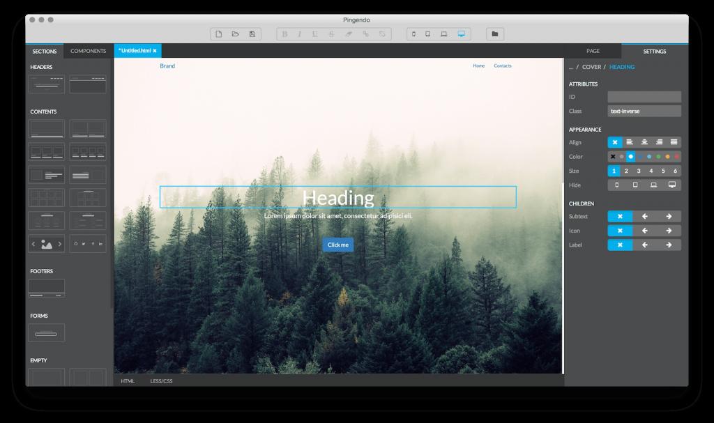 Pigendo, diseña webs gratis con Bootstrap