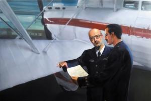 Pintura, Barberán y Collar junto al Cuatro Vientos antes de partir a Méjico, comprar cuadros al óleo