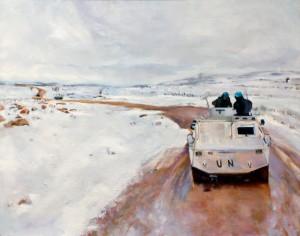 Pintura, óleo Invierno en Líbano, venta cuadros Madrid