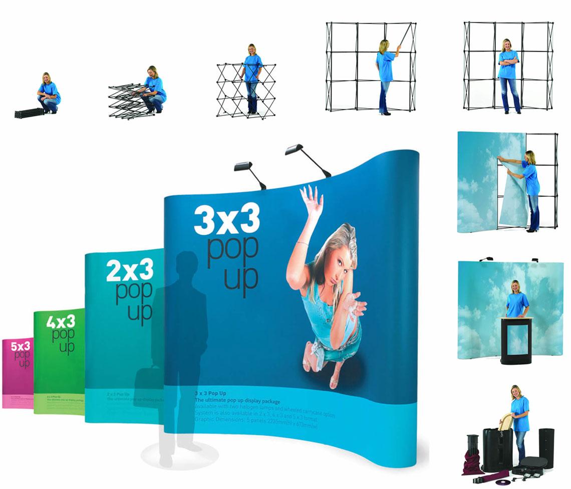 Diseño pop up. Diseñador stand paraguas