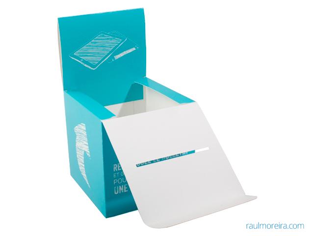 urnas de cartón para sorteos impresa en cartón gráfico blanco