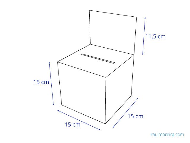 urna de cartón medidas montada